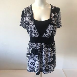 Style & Co Top Blouse Black White Floral